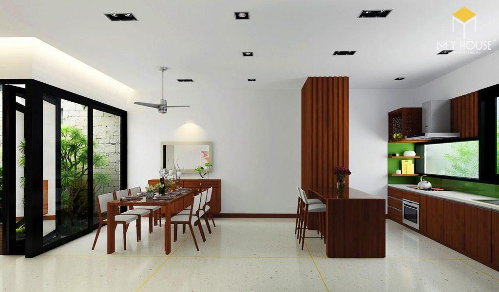 Bếp và phòng ăn tiện nghi nội thất gỗ sang trọng
