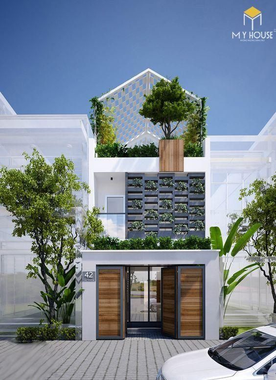 Mẫu nhà 2 tầng 5x20 không gian xanh