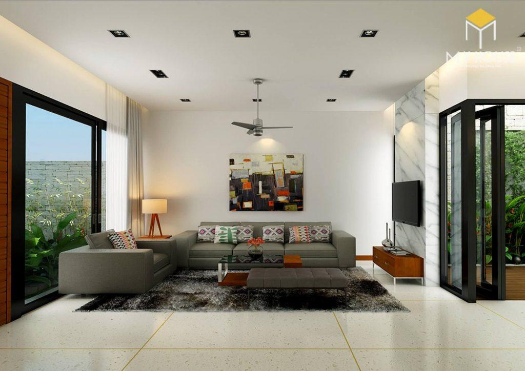 Phòng khách thiết kế nhà 2 lầu 5×20 hiện đại đẹp