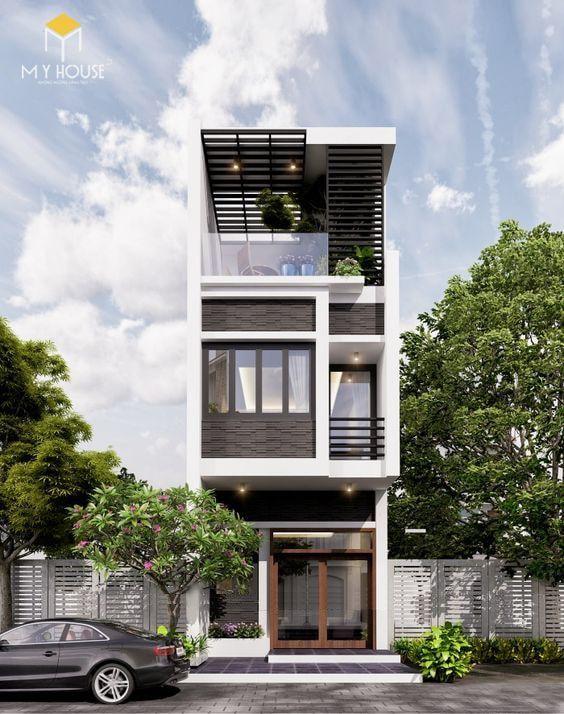 Nhà đẹp 3 tầng 5x12m không gian mở - Mẫu 5