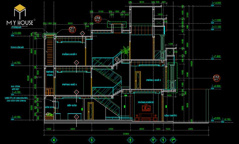 Bản vẽ nhà 3 tầng 5x12m2