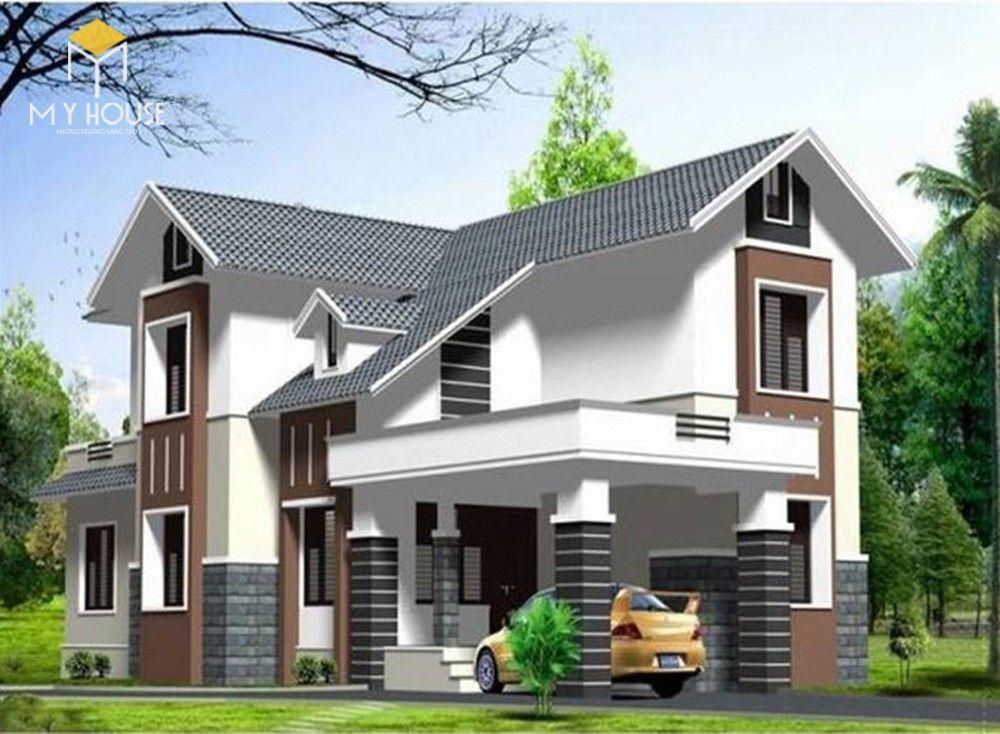 Nhà 2 tầng chữ L đơn giản - Mẫu 1