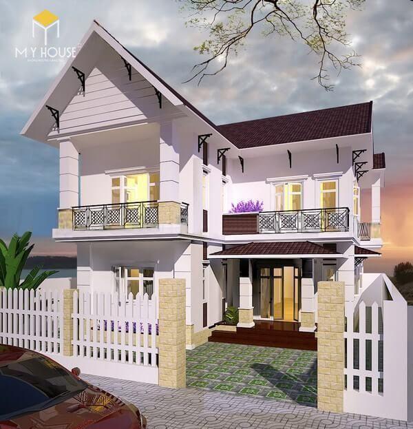 Nhà 2 tầng chữ L đơn giản - Mẫu 2