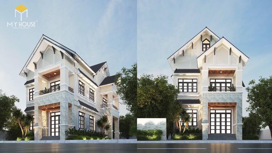 Nhà 2 tầng chữ L đơn giản - Mẫu 4