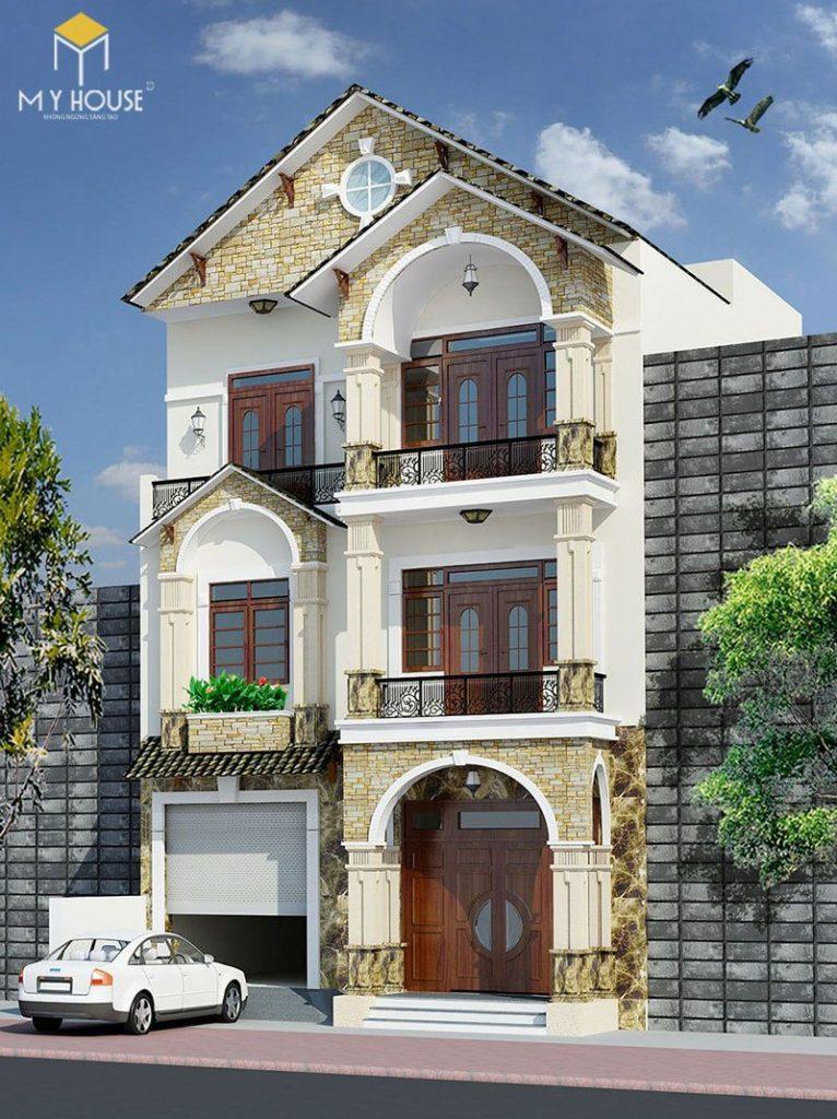 Mặt tiền nhà phố 3 tầng kiểu Pháp