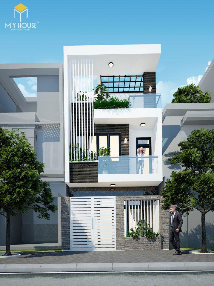 Mẫu nhà phố đẹp này đã lựa chọn phong cách tối giản