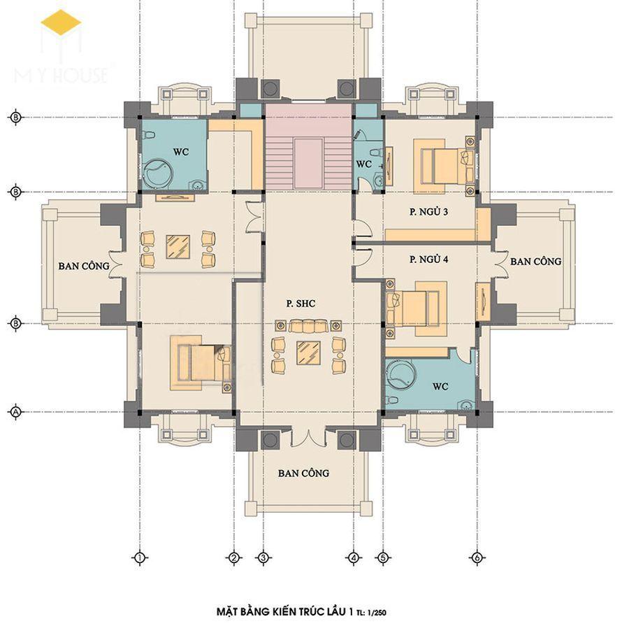 Mặt bằng kiến trúc tầng 1