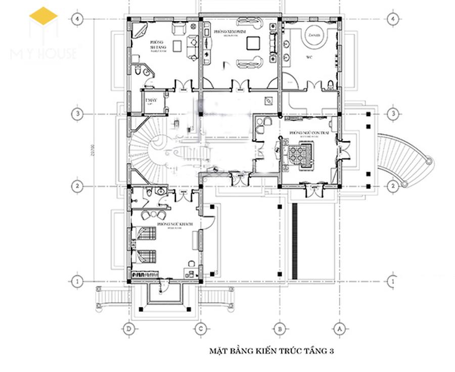 Công năng mặt bằng tầng 2 lâu đài