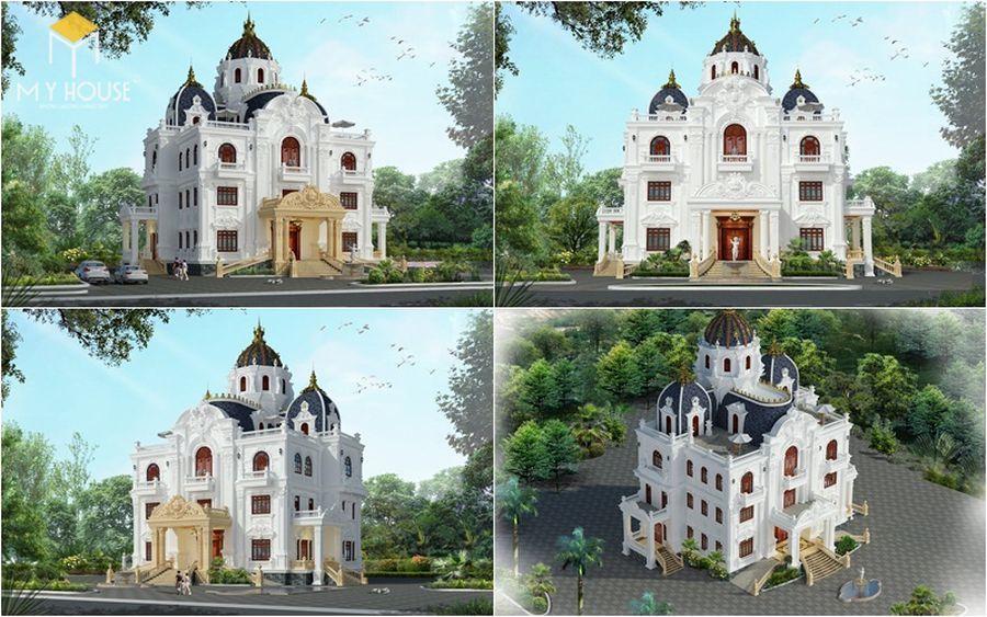 Phối cảnh ngoại thất lâu đài ấn tượng