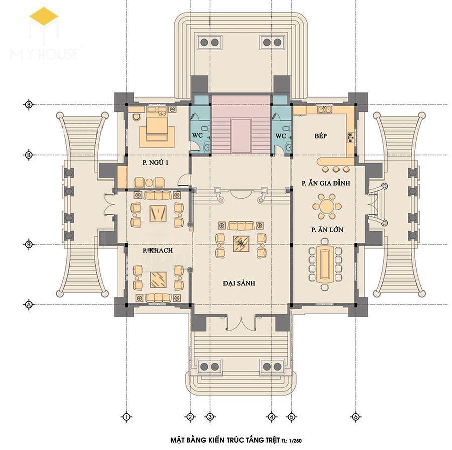 Mặt bằng kiến trúc tầng trệt