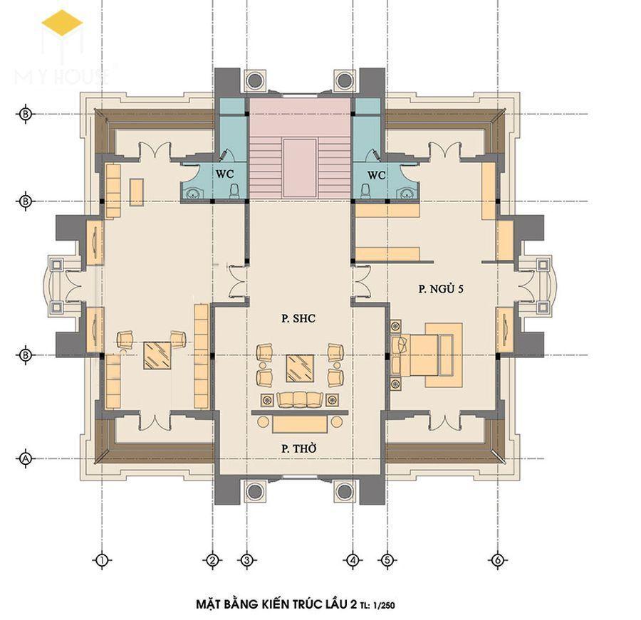 Mặt bằng kiến trúc tầng 2