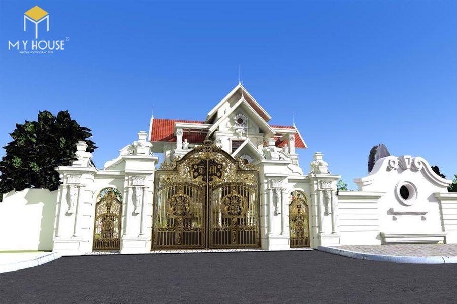 Mẫu cổng lâu đài sắt mái vòm