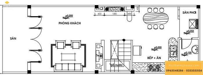 Bản vẽ mặt bằng tầng trệt của nhà cấp 4 mái thái