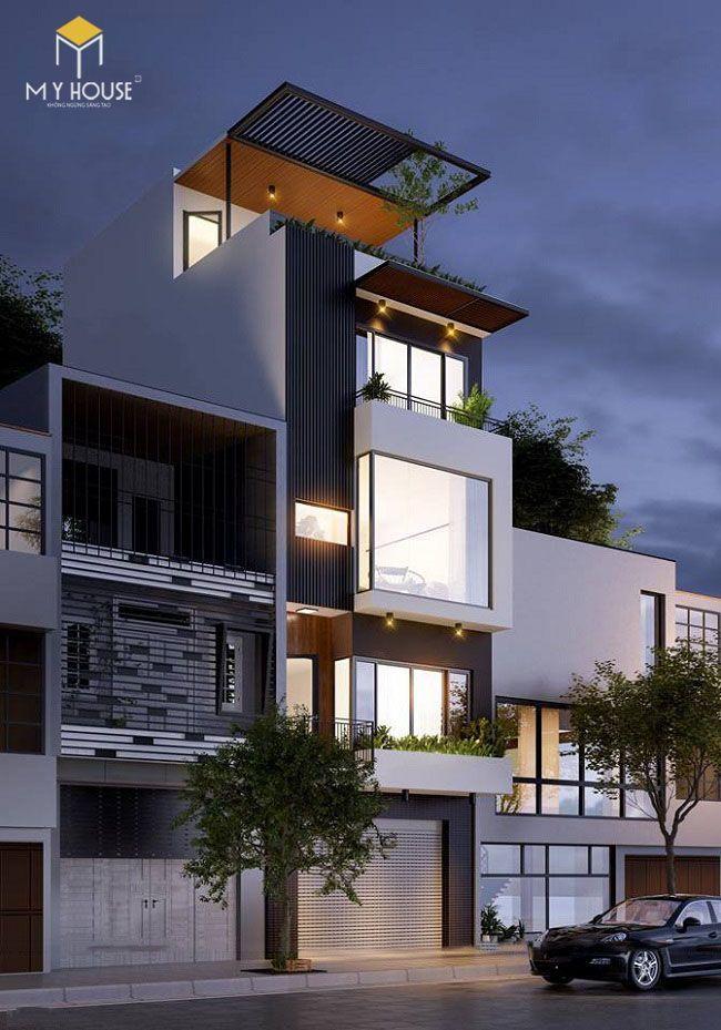 Nhà phố 4 tầng hiện đại - Mẫu 5