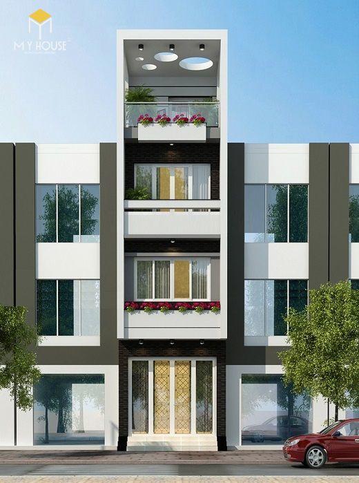 Nhà phố 4 tầng hiện đại - Mẫu 6