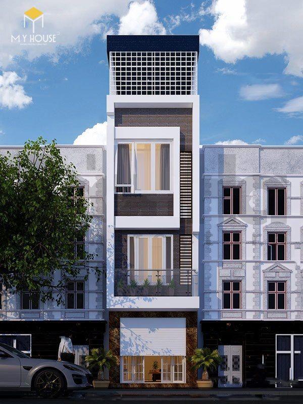 Nhà phố 4 tầng hiện đại - Mẫu 9