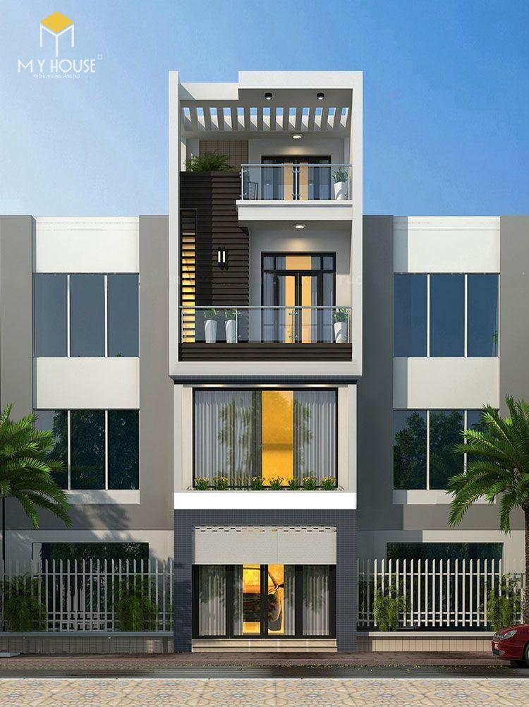 Nhà phố 4 tầng hiện đại - Mẫu 4