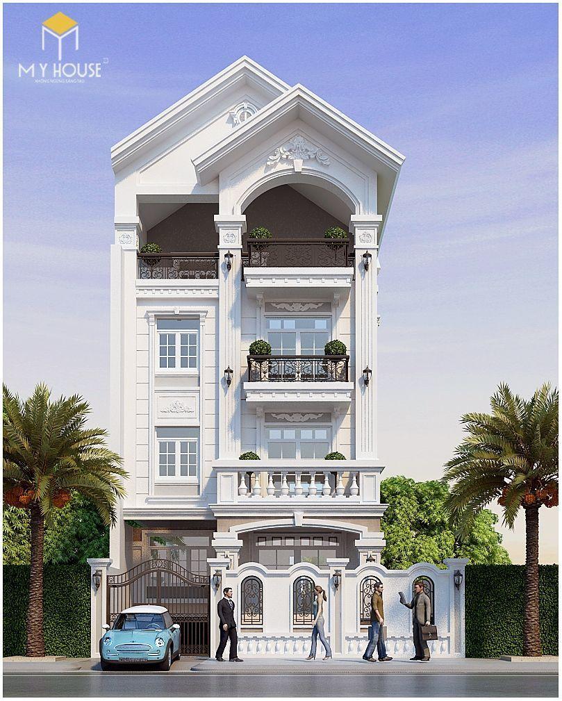 Ngoại thất nhà phố 4 tầng hiện đại