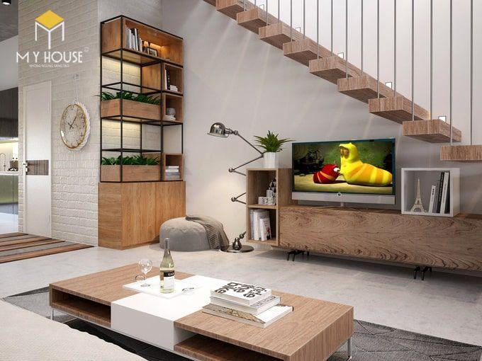 Phòng khách thiết kế theo phong cách tối giản - view 2