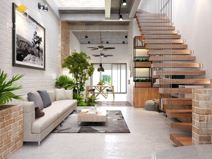 Phòng khách thiết kế theo phong cách tối giản - view 1