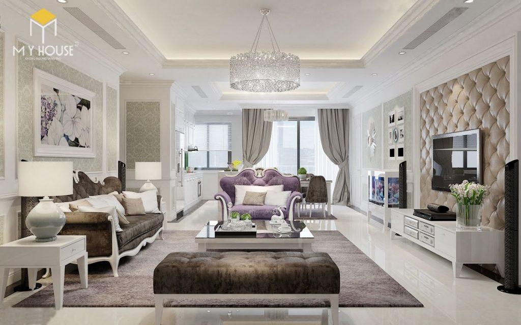 Thiết kế nội thất phòng khách căn hộ 160m2 - View 2