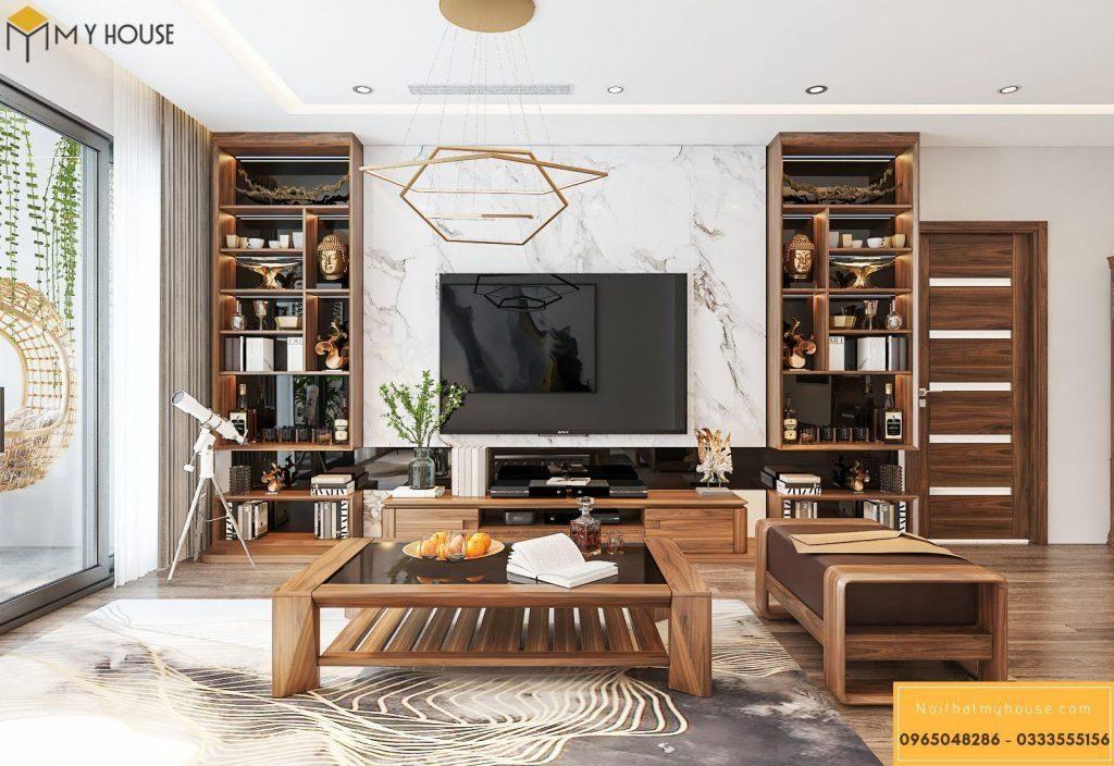 Tủ phòng khách hiện đại bằng gỗ óc chó