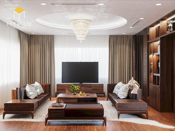 Tủ trang trí phòng khách bằng gỗ tự nhiên