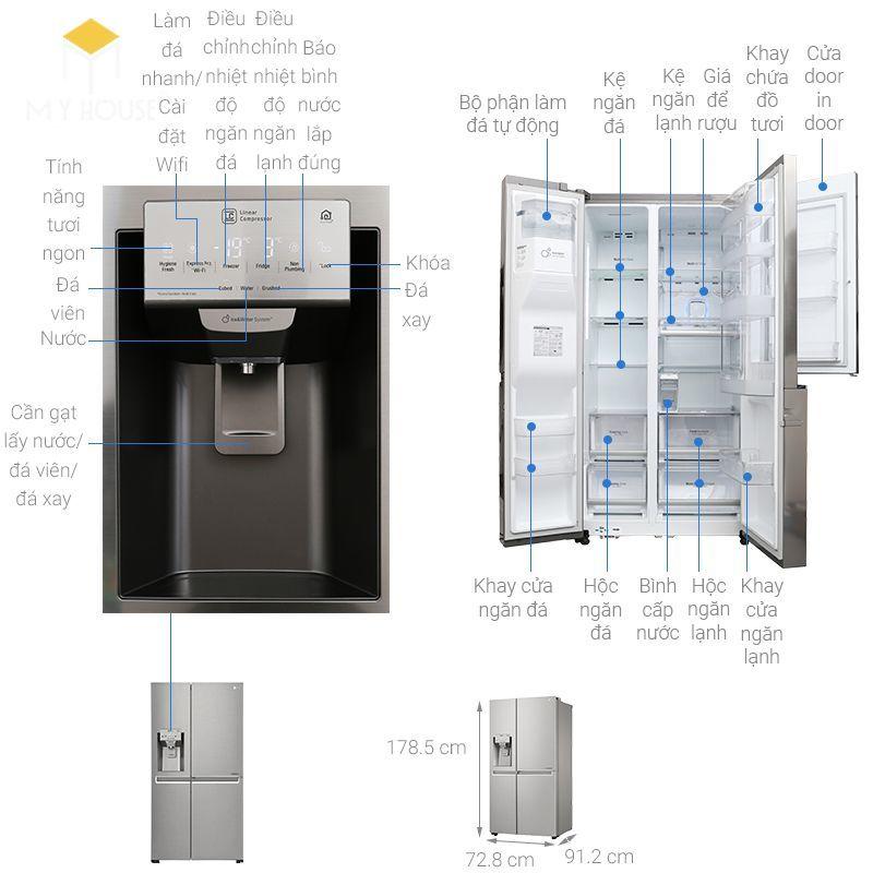 Kích thước tủ lạnh 4 cánh - Mẫu 9