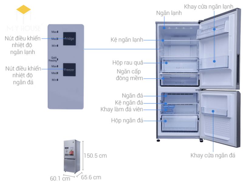 Kích thước tủ lạnh 1 cánh - Mẫu 3