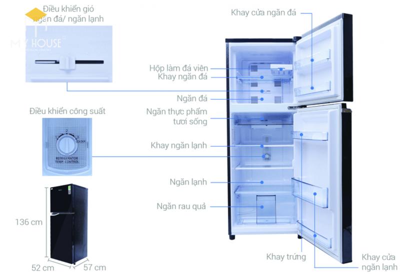 Kích thước tủ lạnh 1 cánh - Mẫu 2