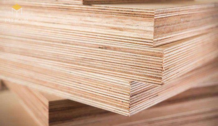 Nhiều lớp gỗ mỏng có độ dày ~1mm có kích thước bằng nhau, ép chồng vuông góc bằng keo chuyên dụng