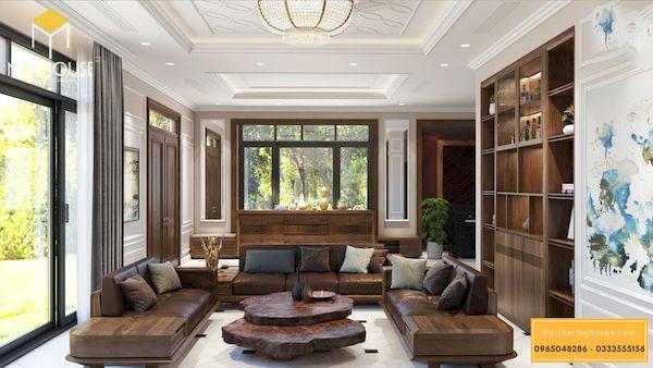 Sofa gỗ sồi sơn màu óc chó cao cấp - Hình ảnh 1