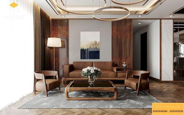 Sofa gỗ sồi sơn màu óc chó cao cấp - Hình ảnh 5