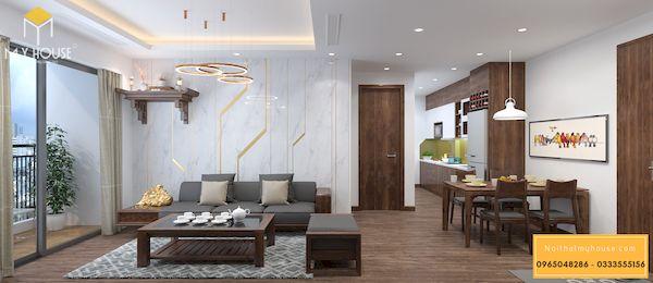 Sofa gỗ sồi chữ l cho nhà chung cư
