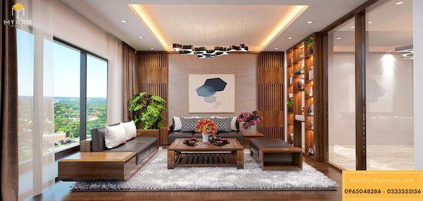 Sofa gỗ sồi sơn màu óc chó cao cấp - Hình ảnh 9