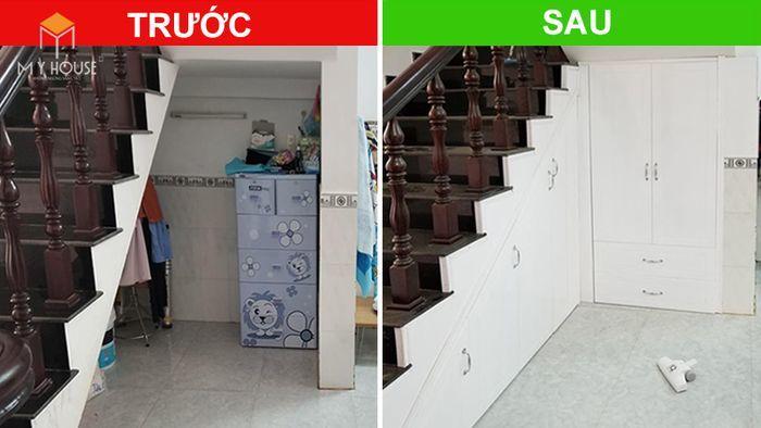 Thiết kế tủ âm tường tận dụng cầu thang