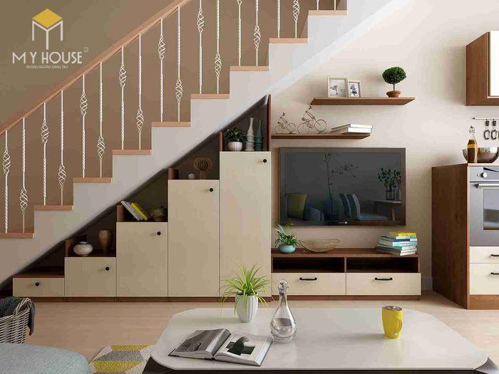 Tủ kệ trang trí- tủ gầm cầu thang đẹp