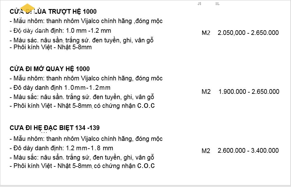 Bảng giá nhôm hệ 1000 mới nhất 2021