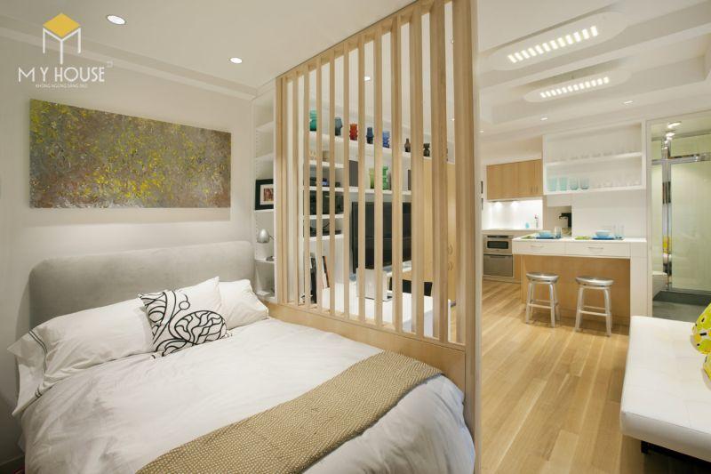 Vách ngăn phòng ngủ bằng gỗ - M2