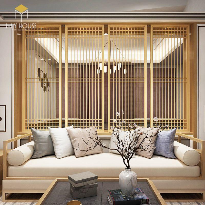 Vách ngăn gỗ phòng khách và bếp - M2