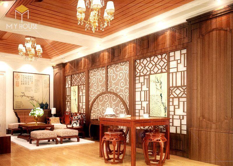 Vách ngăn gỗ phòng khách và bếp - M3
