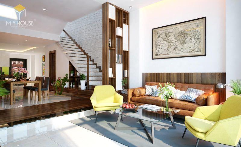 Vách ngăn phòng khách bằng gỗ - M1