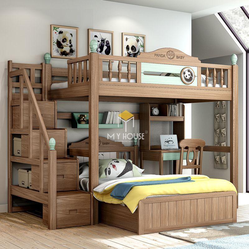Giường tầng bằng gỗ và được trang trí cách điệu