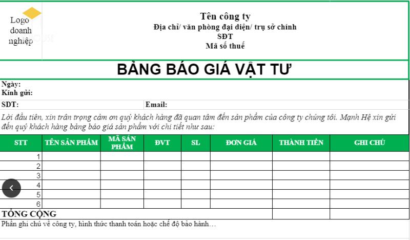 Mẫu bảng báo giá vật tư