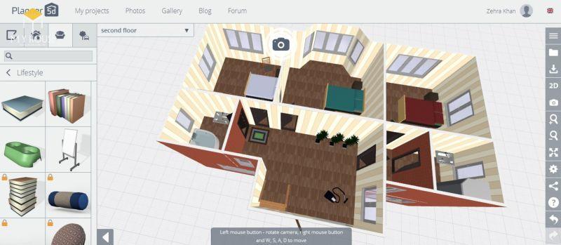 Giao diện phần mềm thiết kế nội thất online Planner 5D