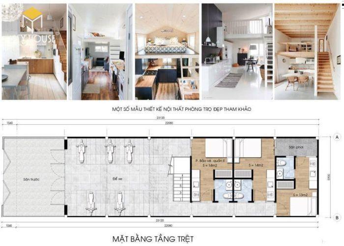 Thiết kế phòng trọ 12m2 2