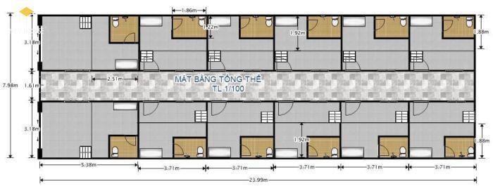 Bản vẽ thiết kế phòng trọ 12m2