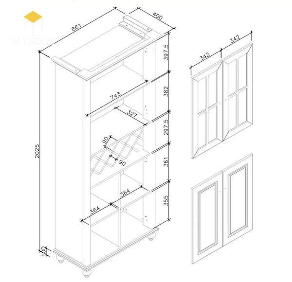 Bản vẽ kích thước tủ rượu - Hình ảnh 4
