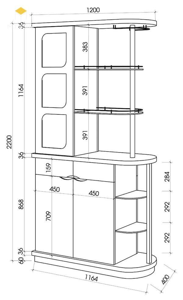 Bản vẽ kích thước tủ rượu - Hình ảnh 5