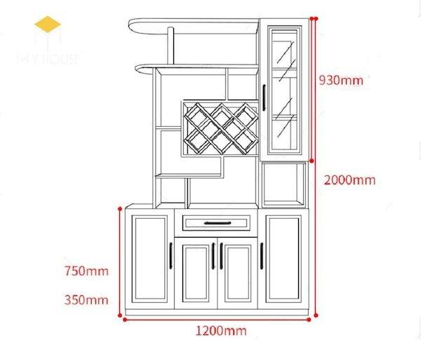 Bản vẽ kích thước tủ rượu - Hình ảnh 6